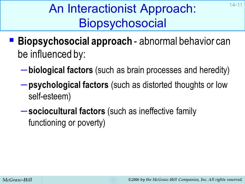McGraw-Hill ©2006 by the McGraw-Hill Companies, Inc. All rights reserved. 14-11 An Interactionist Approach: Biopsychosocial  Biopsychosocial approach
