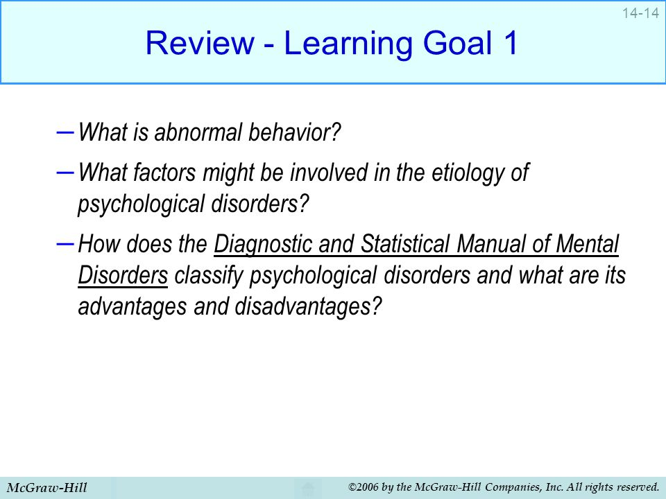 McGraw-Hill ©2006 by the McGraw-Hill Companies, Inc. All rights reserved. 14-14 Review - Learning Goal 1 – What is abnormal behavior? – What factors m