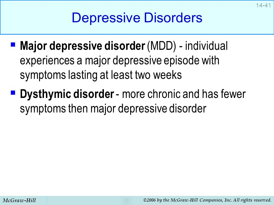 McGraw-Hill ©2006 by the McGraw-Hill Companies, Inc. All rights reserved. 14-41 Depressive Disorders  Major depressive disorder (MDD) - individual ex