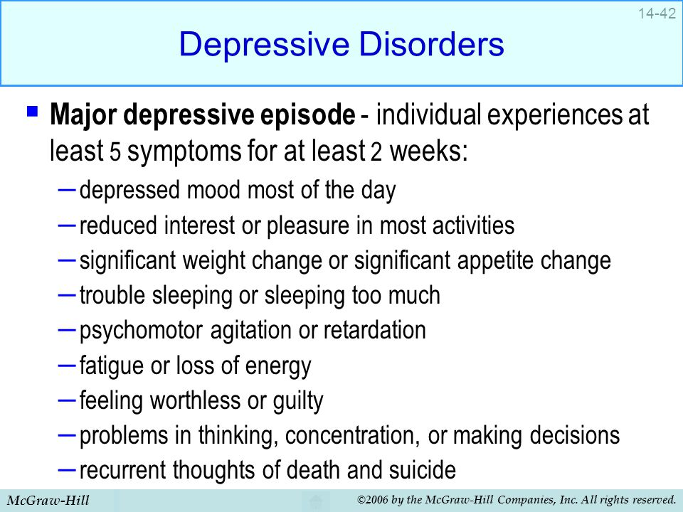 McGraw-Hill ©2006 by the McGraw-Hill Companies, Inc. All rights reserved. 14-42 Depressive Disorders  Major depressive episode - individual experienc