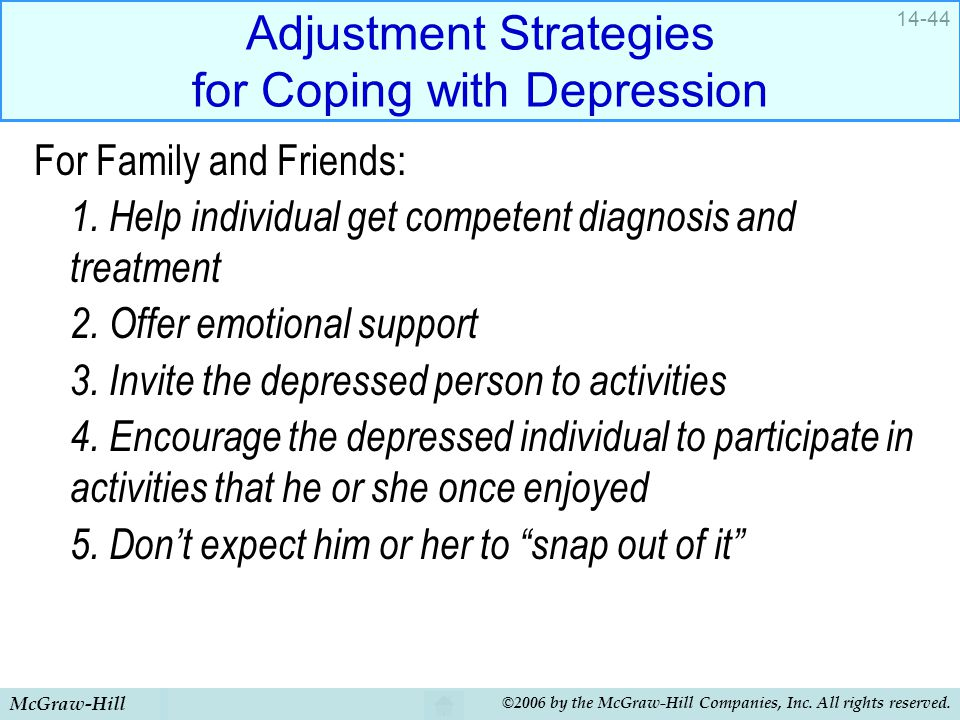 McGraw-Hill ©2006 by the McGraw-Hill Companies, Inc. All rights reserved. 14-44 Adjustment Strategies for Coping with Depression For Family and Friend
