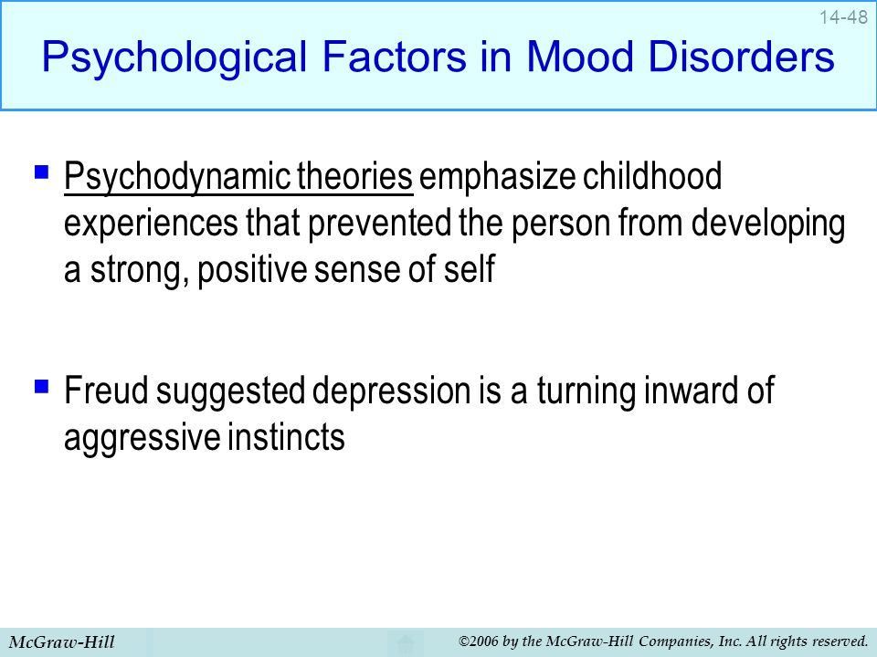 McGraw-Hill ©2006 by the McGraw-Hill Companies, Inc. All rights reserved. 14-48 Psychological Factors in Mood Disorders  Psychodynamic theories empha
