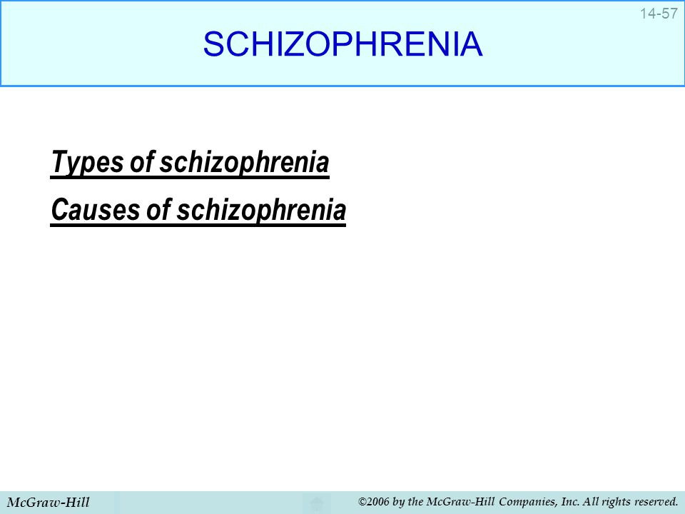 McGraw-Hill ©2006 by the McGraw-Hill Companies, Inc. All rights reserved. 14-57 SCHIZOPHRENIA Types of schizophrenia Causes of schizophrenia