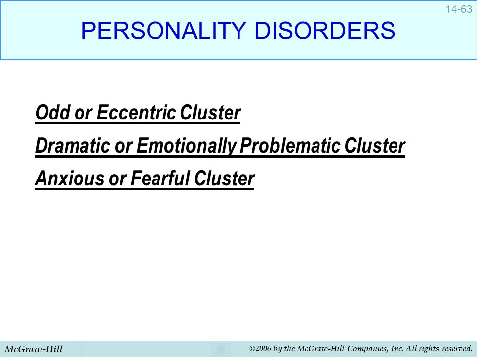 McGraw-Hill ©2006 by the McGraw-Hill Companies, Inc. All rights reserved. 14-63 PERSONALITY DISORDERS Odd or Eccentric Cluster Dramatic or Emotionally