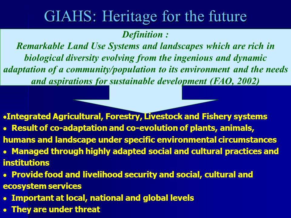 GIAHS IS BASED ON THE FIVE ASSETS OF RURAL SYSTEMS Financial Capital: money, savings Natural Capital: nature's goods and services (waste assimilation, pollination, storm protection, water supply, leisure, wildlife) Social Capital : cohesiveness of people and societies - trust, reciprocity, rules and norms, networks and institutions Physical Capital : infrastructure Human Capital: the status of individuals - health, skills, knowledge