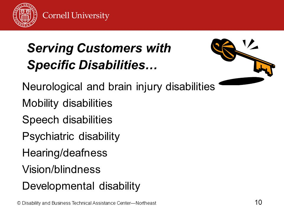 © Disability and Business Technical Assistance Center—Northeast 10 Neurological and brain injury disabilities Mobility disabilities Speech disabilitie