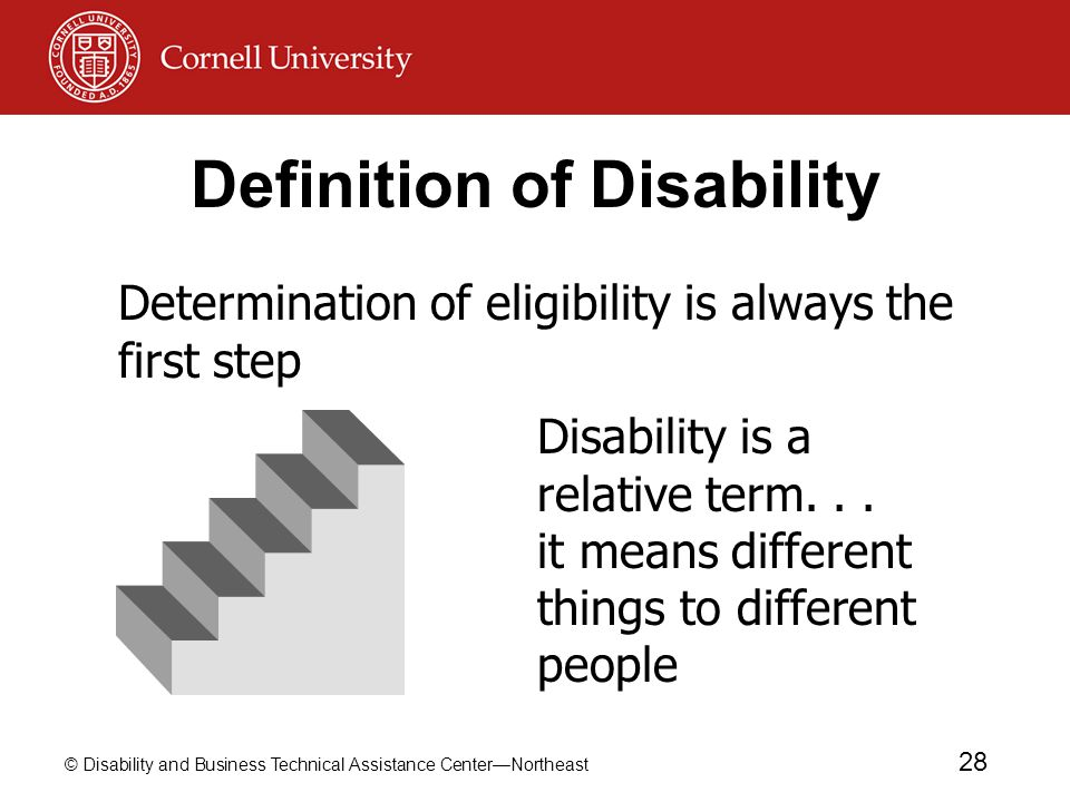 © Disability and Business Technical Assistance Center—Northeast 28 Definition of Disability Determination of eligibility is always the first step Disability is a relative term...