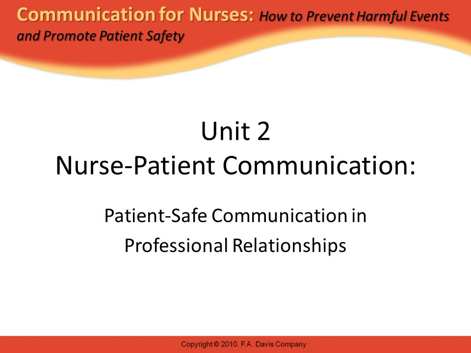 Communication for Nurses: How to Prevent Harmful Events and Promote Patient Safety Unit 2 Nurse-Patient Communication: Patient-Safe Communication in Professional Relationships
