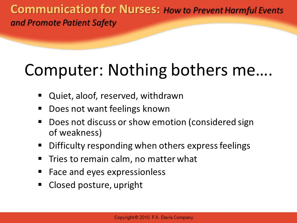 Communication for Nurses: How to Prevent Harmful Events and Promote Patient Safety Computer: Nothing bothers me….