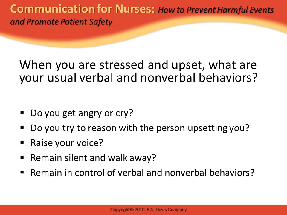 Communication for Nurses: How to Prevent Harmful Events and Promote Patient Safety Managing Stress in Patients and Families: Patient-Safe Professional Behaviors  Management of professional identity  Manners  Professional conduct  Appearance  Hairstyle, makeup, clothing, body adornment  Setting  Creation of a safe and confidential environment