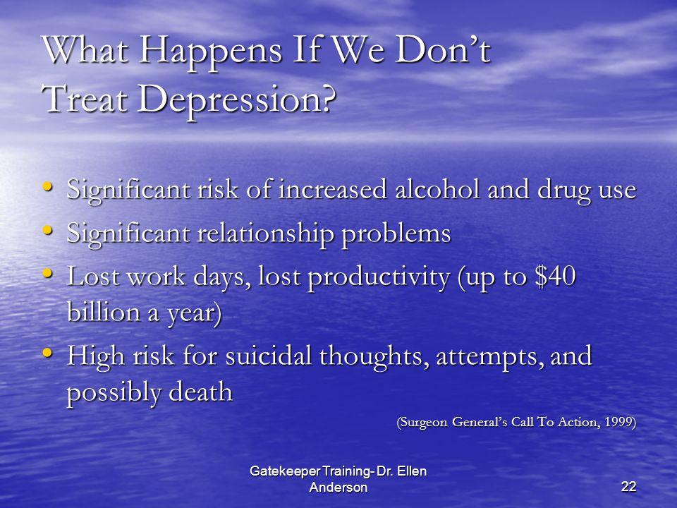 Gatekeeper Training- Dr. Ellen Anderson22 What Happens If We Don't Treat Depression.