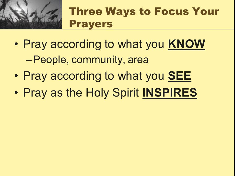 Three Ways to Focus Your Prayers Pray according to what you KNOW –People, community, area Pray according to what you SEE Pray as the Holy Spirit INSPI