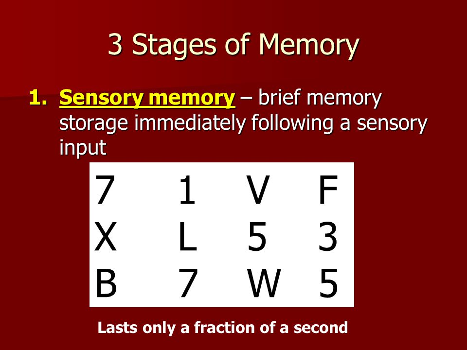 3 Stages of Memory 1.Sensory memory – brief memory storage immediately following a sensory input 7 1 V F X L 5 3 B 7 W 5 Lasts only a fraction of a second
