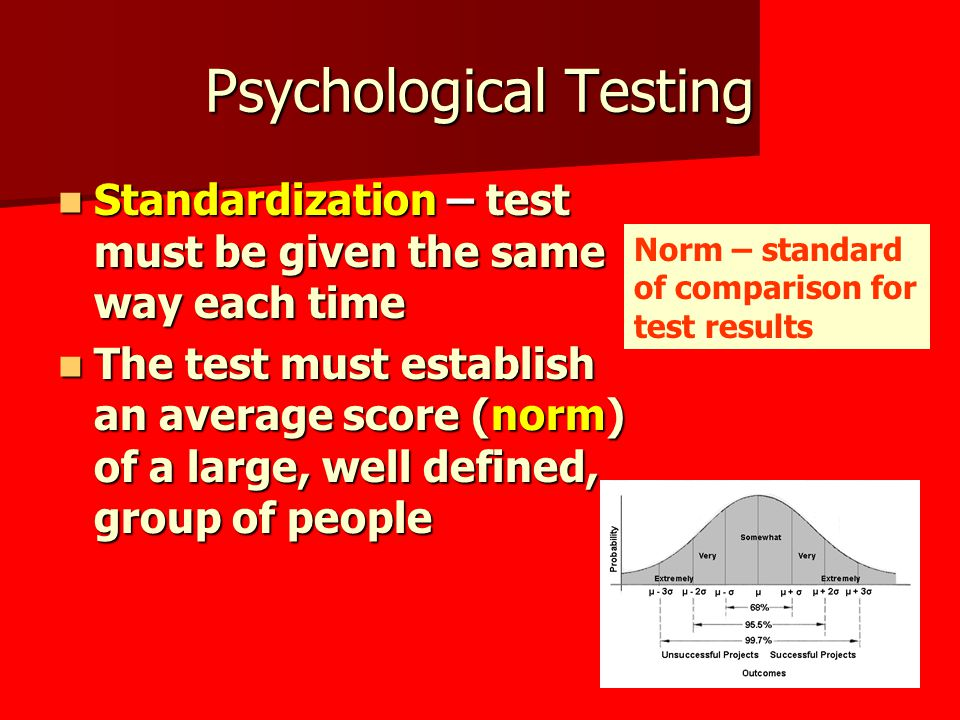 Psychological Testing Standardization – test must be given the same way each time Standardization – test must be given the same way each time The test must establish an average score (norm) of a large, well defined, group of people The test must establish an average score (norm) of a large, well defined, group of people Norm – standard of comparison for test results