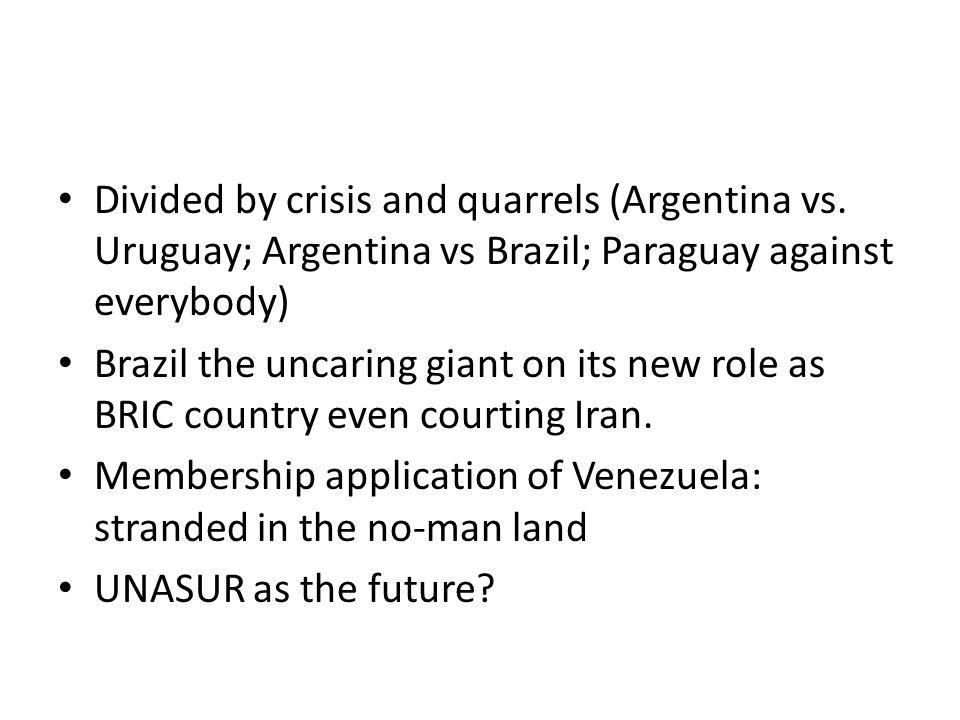 Divided by crisis and quarrels (Argentina vs.