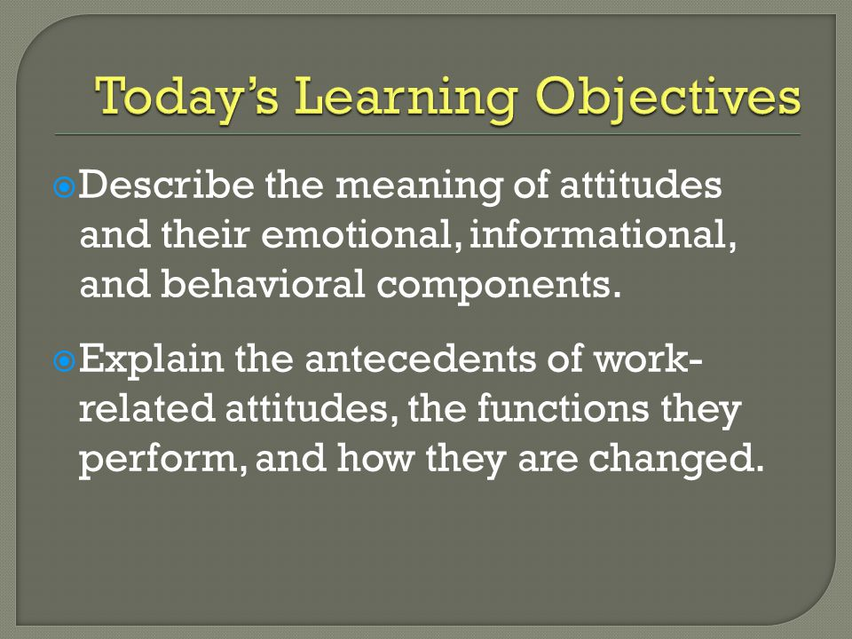  Describe the meaning of attitudes and their emotional, informational, and behavioral components.