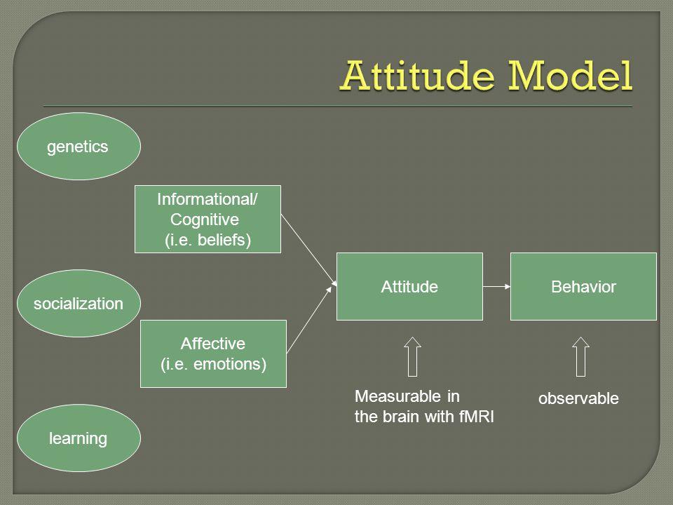 Informational/ Cognitive (i.e. beliefs) Affective (i.e. emotions) AttitudeBehavior genetics socialization observable learning Measurable in the brain