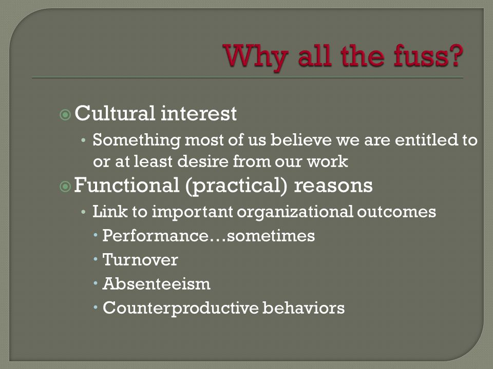  Cultural interest Something most of us believe we are entitled to or at least desire from our work  Functional (practical) reasons Link to important organizational outcomes  Performance…sometimes  Turnover  Absenteeism  Counterproductive behaviors