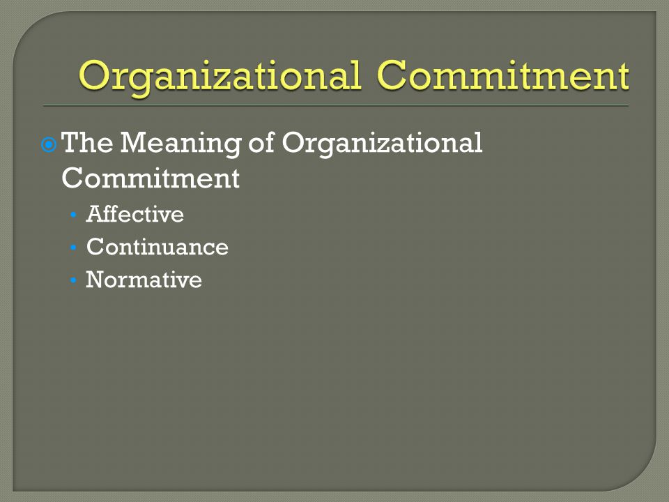  The Meaning of Organizational Commitment Affective Continuance Normative