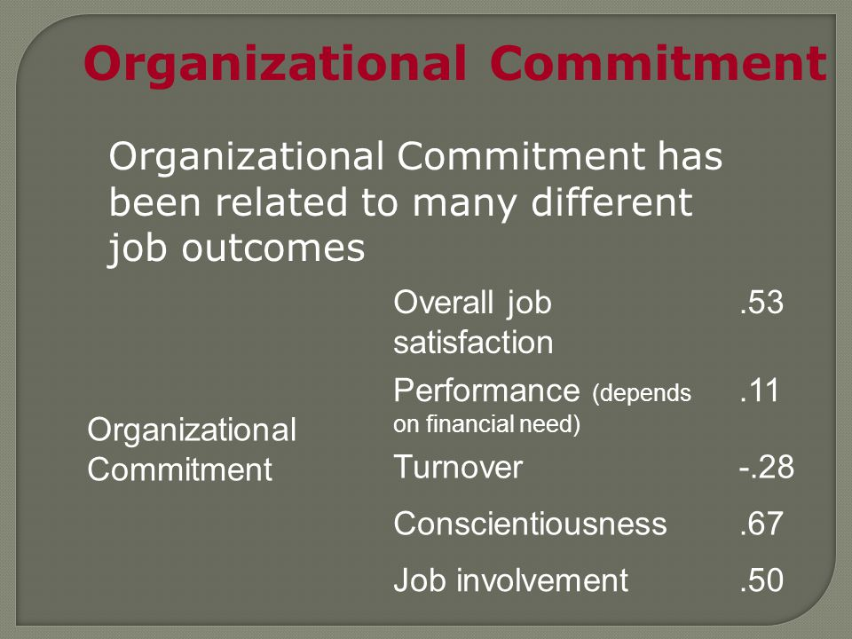 Organizational Commitment Overall job satisfaction.53 Performance (depends on financial need).11 Turnover-.28 Conscientiousness.67 Job involvement.50 Organizational Commitment has been related to many different job outcomes
