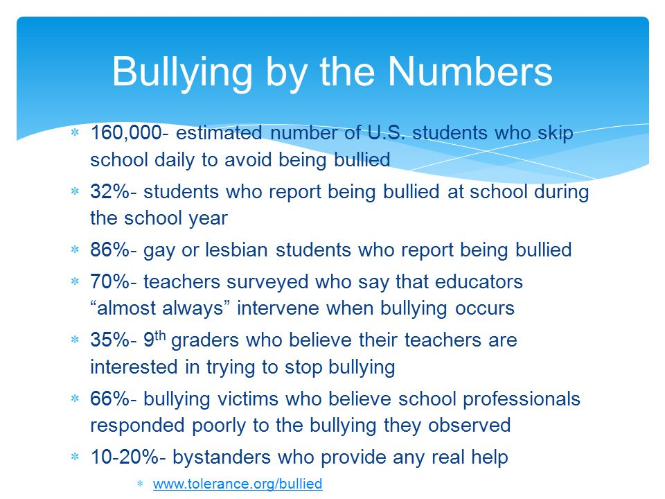  Climate Survey from WCSD  In the past 30 days in WCSD (student report) among students who reported being bullied  24% physically bullied on bus  22% verbally bullied on the bus  13% physically bullied in school  27% verbally bullied in school  Percentage of students targeted at school (student report)by another student  24% targeted about dress  44% targeted because of a physical characteristic  50% of MS employees rated bullying among students as a high concern Washoe County Climate Survey Report: http://bit.ly/H16w2khttp://bit.ly/H16w2k Is it happening here?