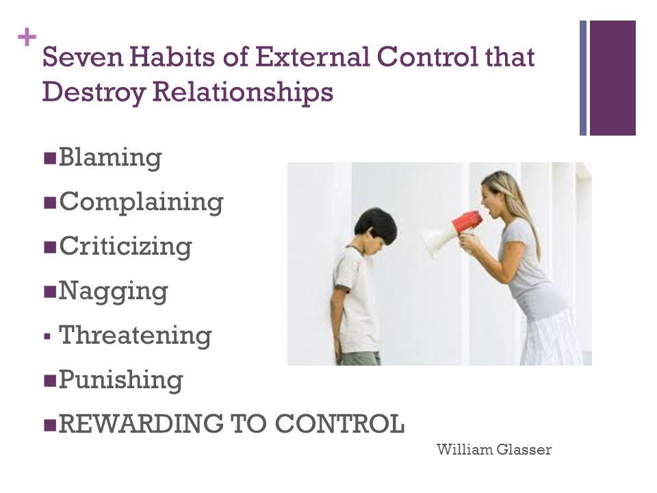 + Seven Habits of External Control that Destroy Relationships Blaming Complaining Criticizing Nagging  Threatening Punishing REWARDING TO CONTROL William Glasser