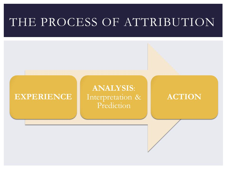 EXPERIENCE ANALYSIS: Interpretation & Prediction ACTION THE PROCESS OF ATTRIBUTION