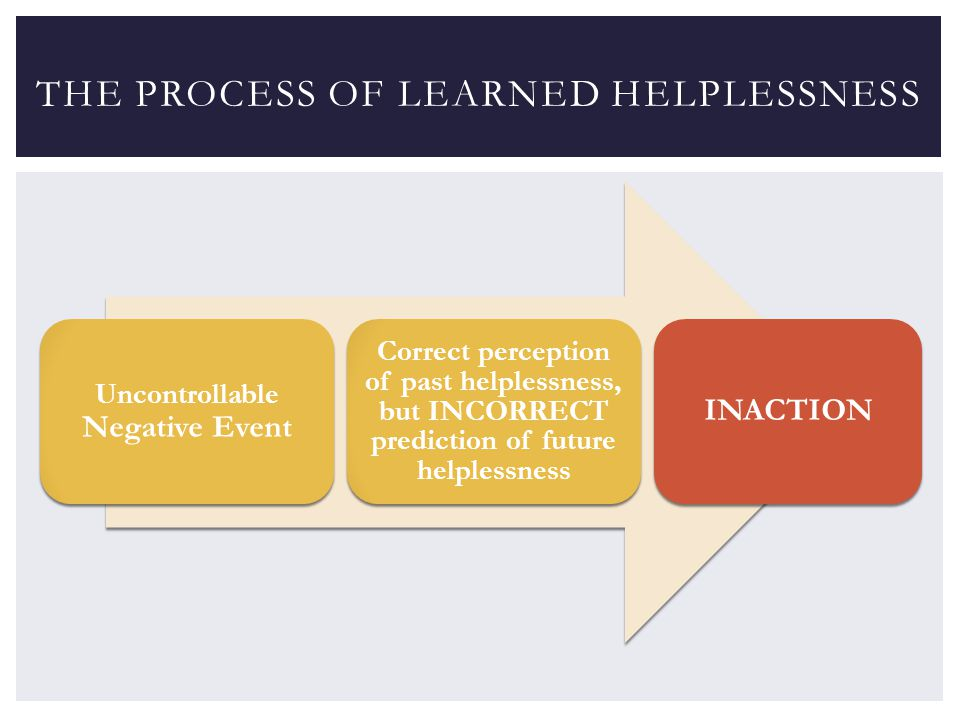 Uncontrollable Negative Event Correct perception of past helplessness, but INCORRECT prediction of future helplessness INACTION THE PROCESS OF LEARNED HELPLESSNESS