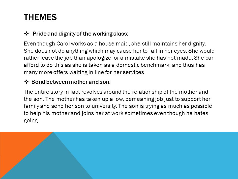 THEMES  Pride and dignity of the working class: Even though Carol works as a house maid, she still maintains her dignity. She does not do anything wh