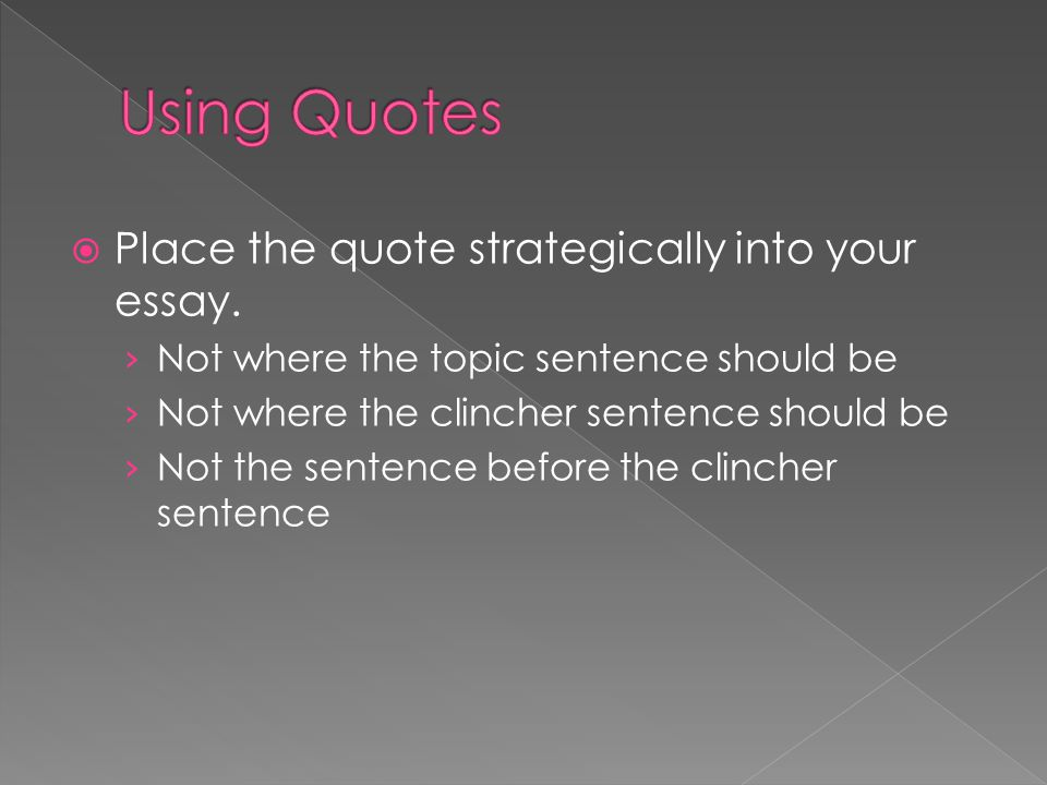  Place the quote strategically into your essay.