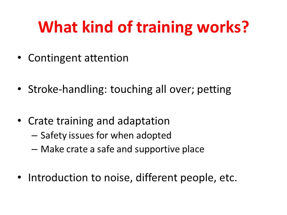 What kind of training works? Contingent attention Stroke-handling: touching all over; petting Crate training and adaptation – Safety issues for when a