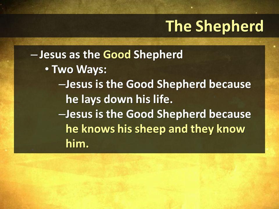 – Jesus as the Good Shepherd Two Ways: Two Ways: – Jesus is the Good Shepherd because he lays down his life.