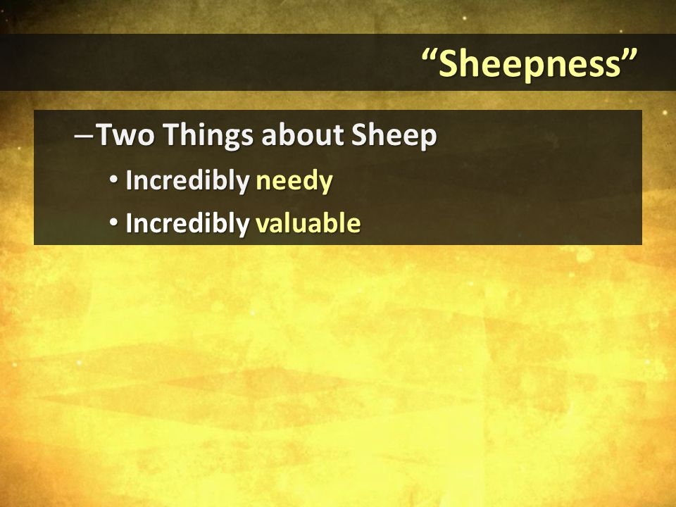 Sheepness Sheepness – Two Things about Sheep Incredibly needy Incredibly needy Incredibly valuable Incredibly valuable