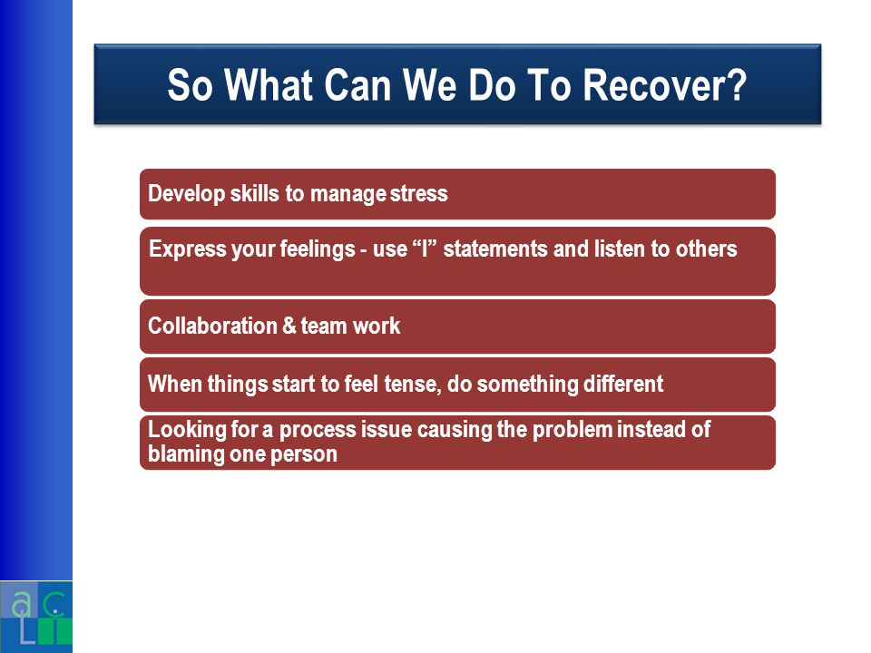 So What Can We Do To Recover.