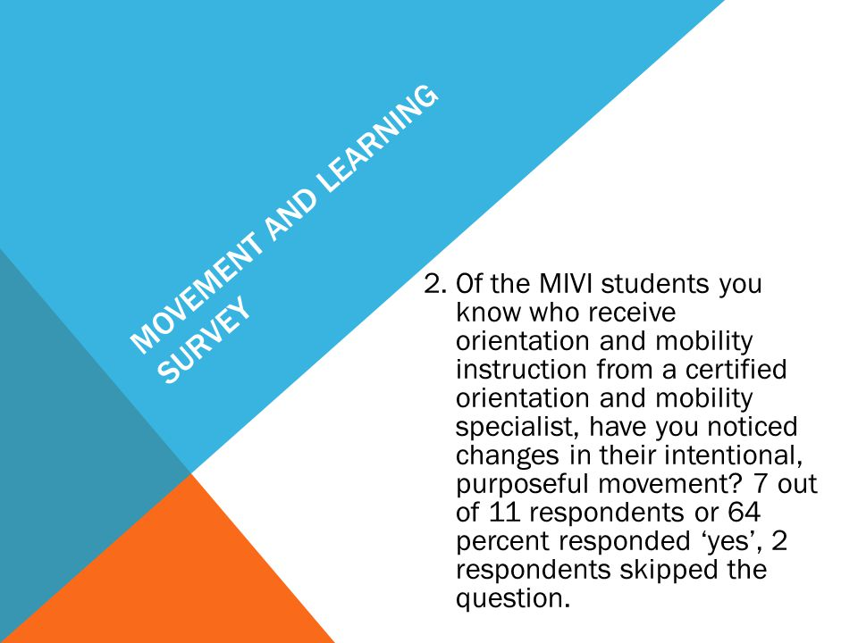 MOVEMENT AND LEARNING SURVEY 2. Of the MIVI students you know who receive orientation and mobility instruction from a certified orientation and mobili