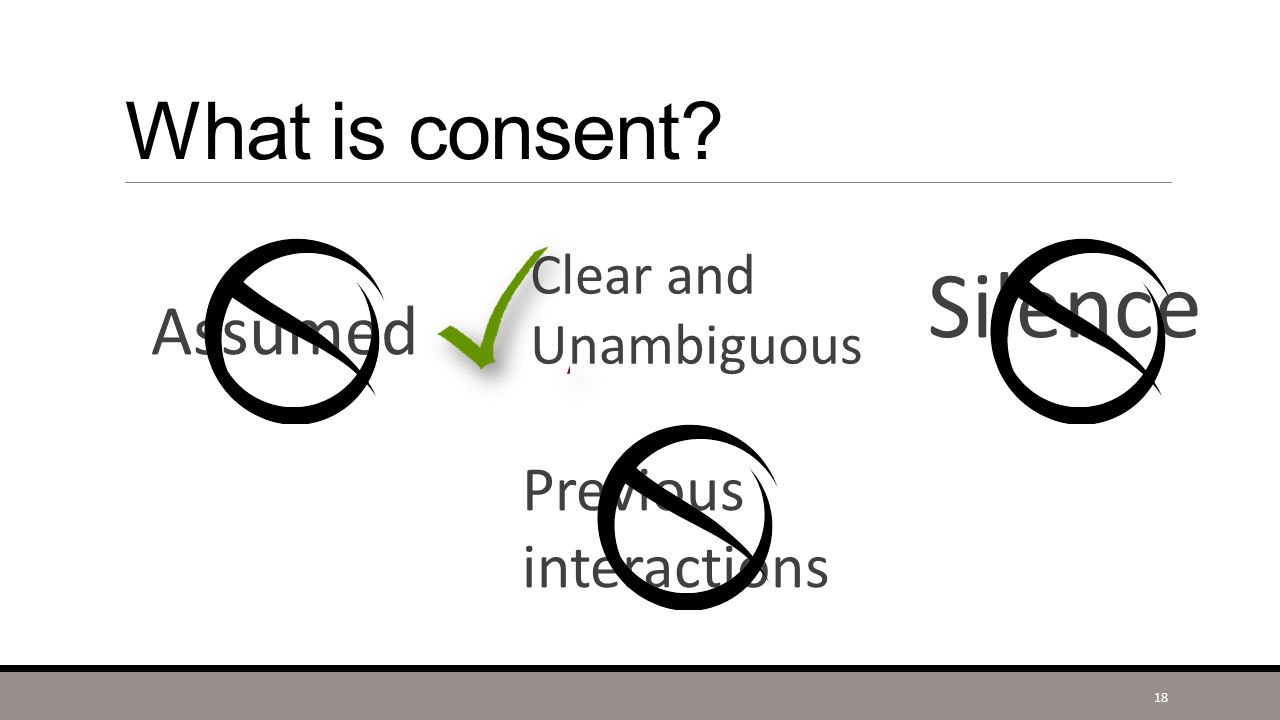 What is consent? Assumed Silence Previous interactions Clear and Unambiguous 18