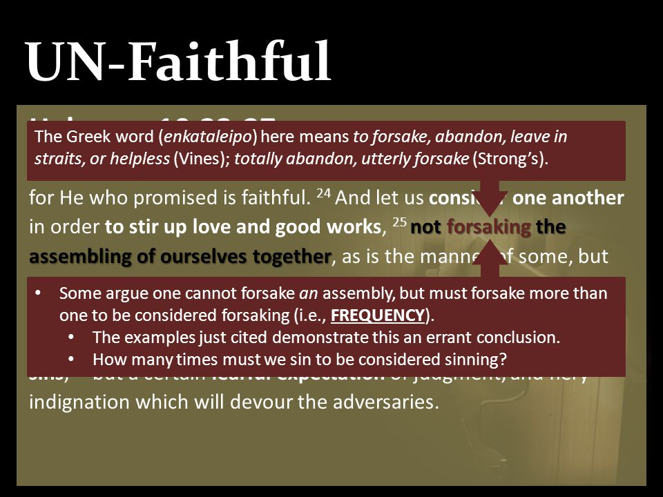 UN-Faithful Hebrews 10:23-27 not forsaking the assembling of ourselves together 23 Let us hold fast the confession of our hope without wavering, for H