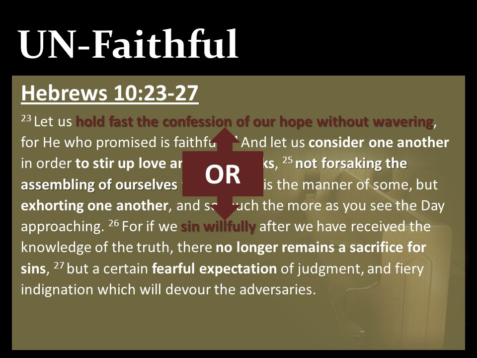 UN-Faithful Hebrews 10:23-27 hold fast the confession of our hope without wavering not forsaking the assembling of ourselves together sin willfully 23