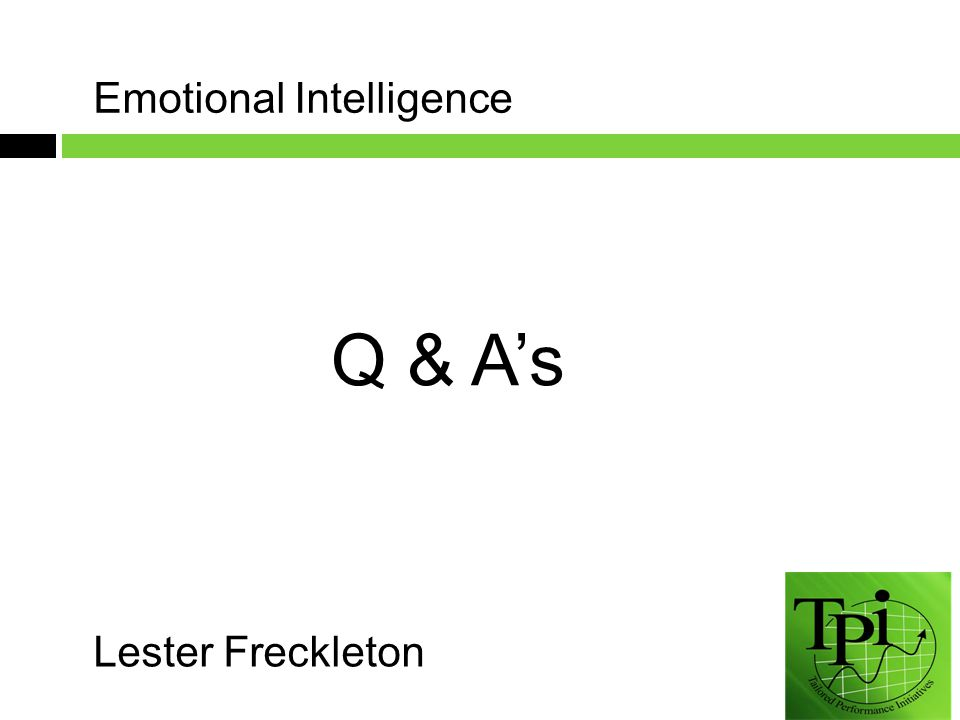 Lester Freckleton Q & A's Emotional Intelligence