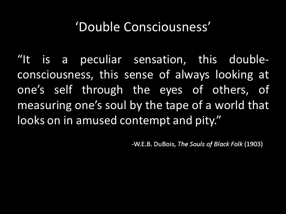 "'Double Consciousness' ""It is a peculiar sensation, this double- consciousness, this sense of always looking at one's self through the eyes of others,"
