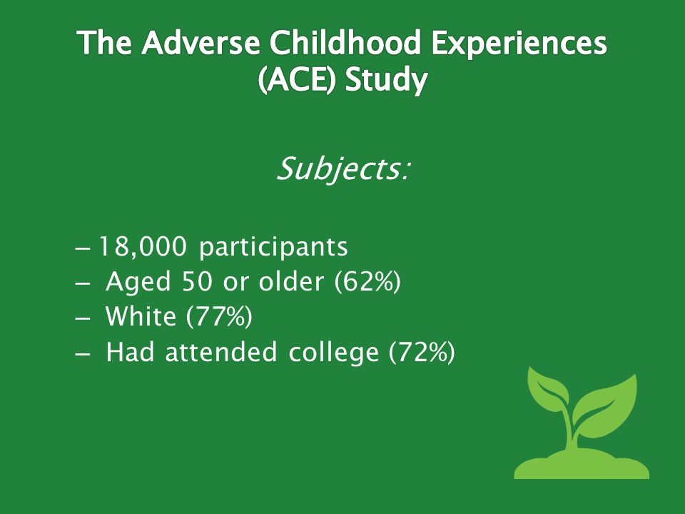 Subjects: – 18,000 participants – Aged 50 or older (62%) – White (77%) – Had attended college (72%)