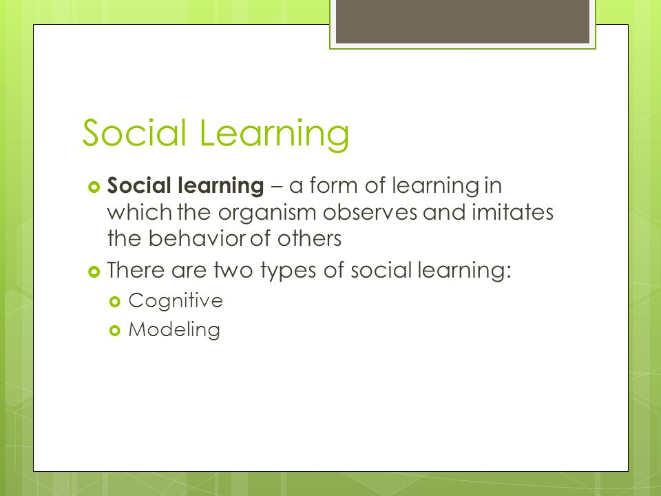 Social Learning  Social learning – a form of learning in which the organism observes and imitates the behavior of others  There are two types of soc