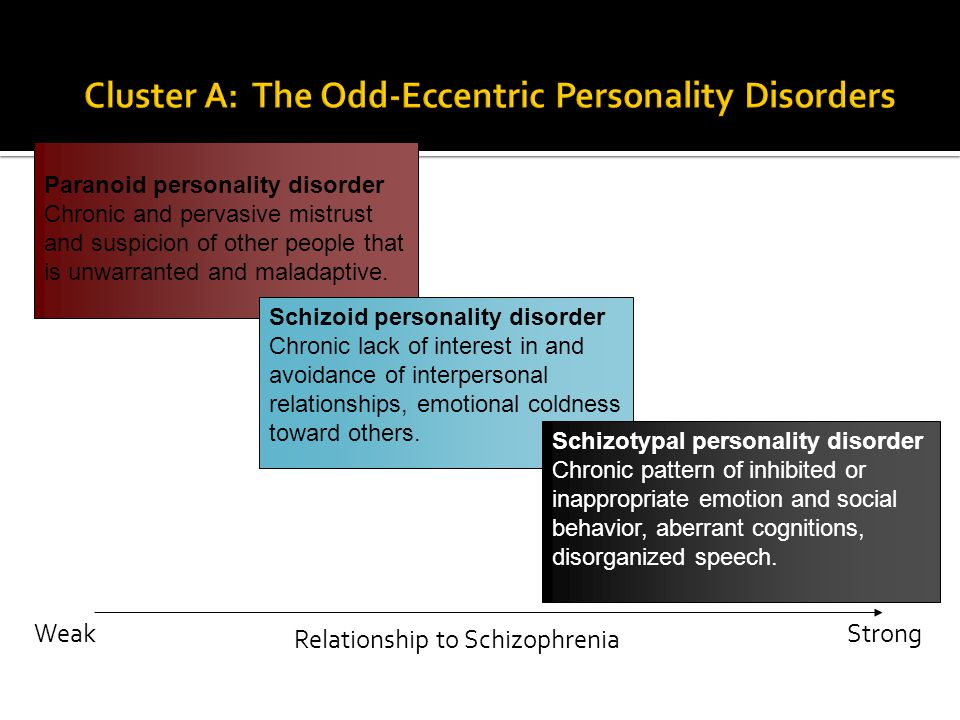 Paranoid personality disorder Chronic and pervasive mistrust and suspicion of other people that is unwarranted and maladaptive. Schizoid personality d