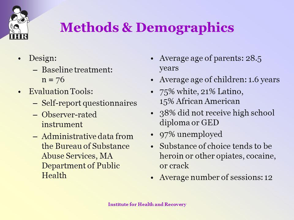 Methods & Demographics Design: –Baseline treatment: n = 76 Evaluation Tools: –Self-report questionnaires –Observer-rated instrument –Administrative da