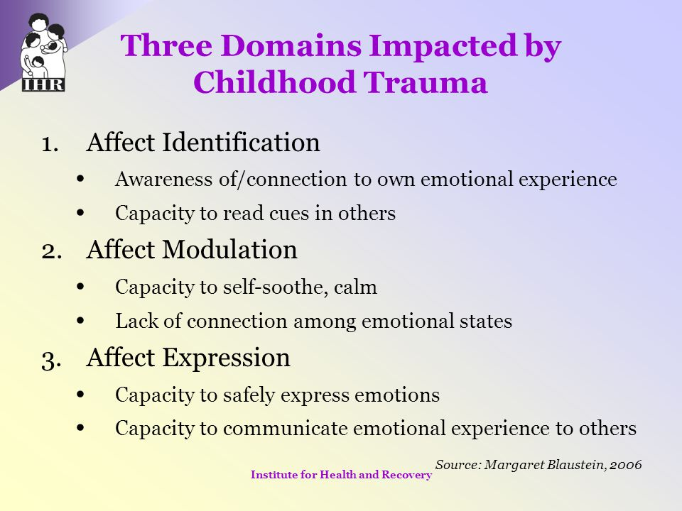 Children's Subset Study Primary Goals For children of mothers with co-occurring mental health & substance use disorders & histories of violence: –Generate empirical knowledge about the effectiveness of trauma-informed, age-specific intervention models –Identify models of care that will prevent or reduce intergenerational perpetuation of violence Institute for Health and Recovery