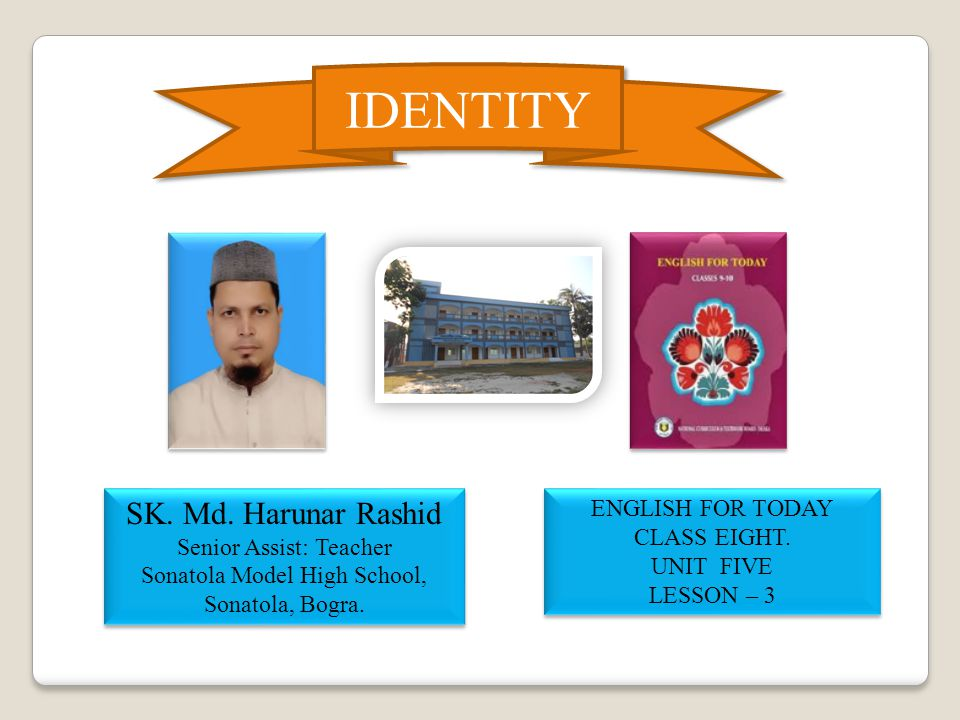 IDENTITY SK.Md. Harunar Rashid Senior Assist: Teacher Sonatola Model High School, Sonatola, Bogra.