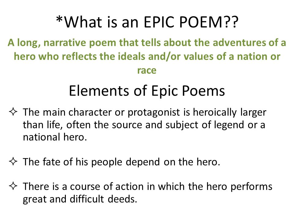 *What is an EPIC POEM .