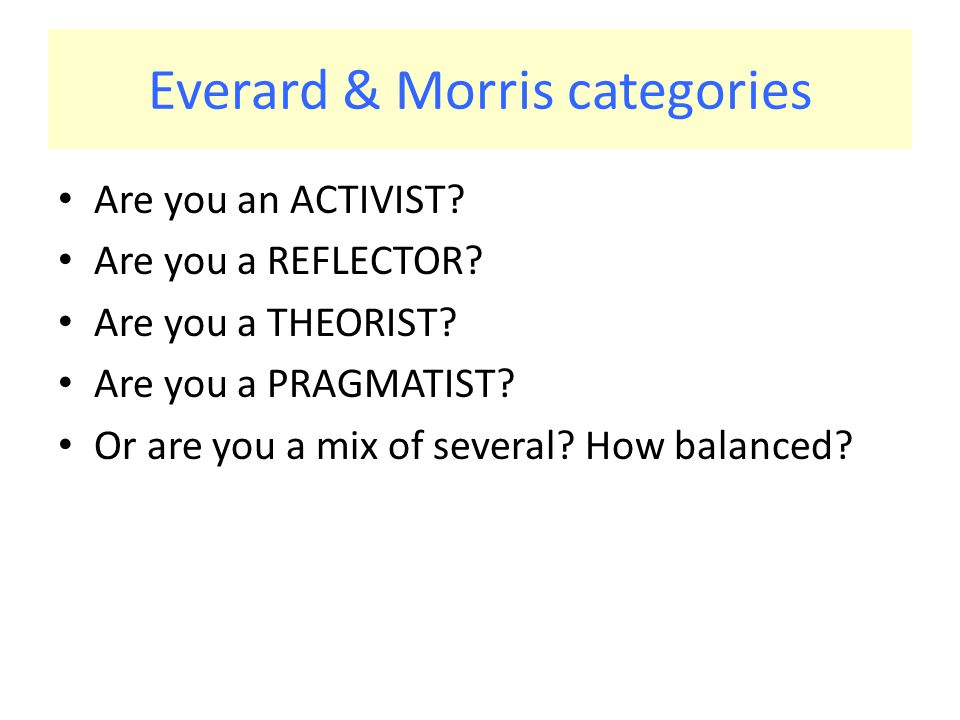 Everard & Morris categories Are you an ACTIVIST. Are you a REFLECTOR.