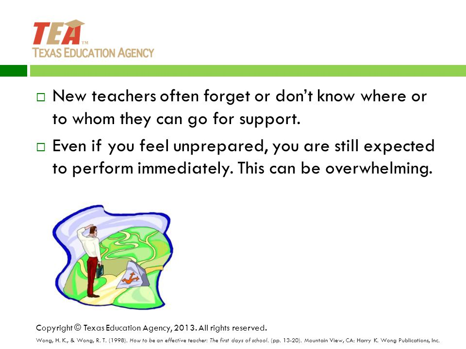  New teachers often forget or don't know where or to whom they can go for support.