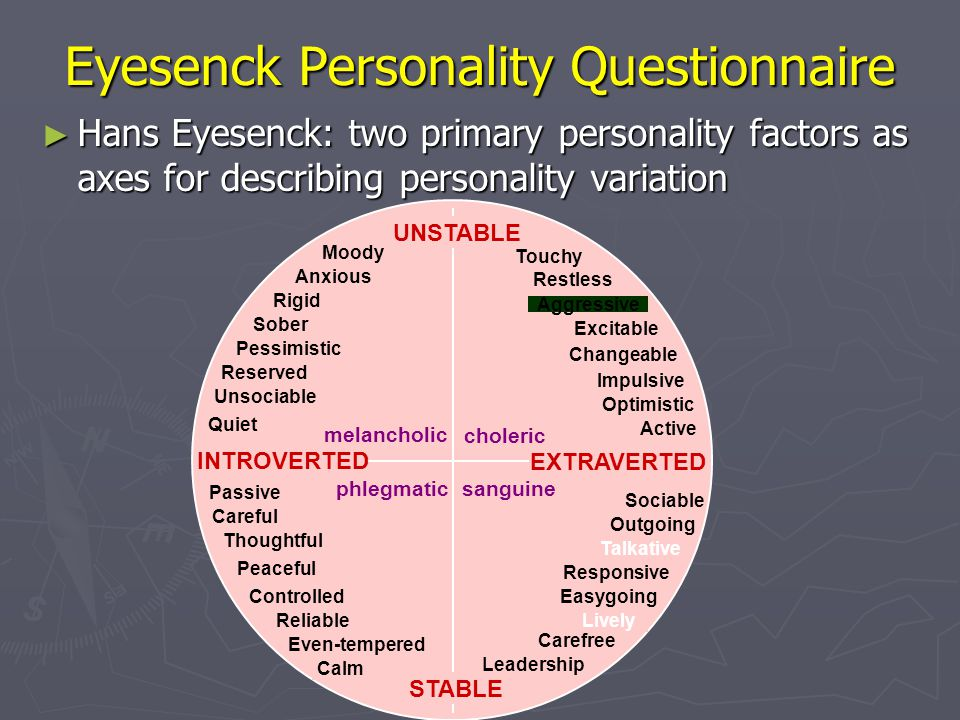 Eyesenck Personality Questionnaire ► Hans Eyesenck: two primary personality factors as axes for describing personality variation UNSTABLE STABLE chole